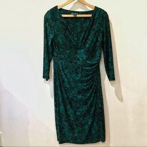 Ralph Lauren green floral wrap dress